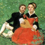 miniature illustration of couple sitting in grass