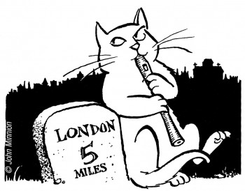 Cartoon of recorder-playing cat by John Minnion